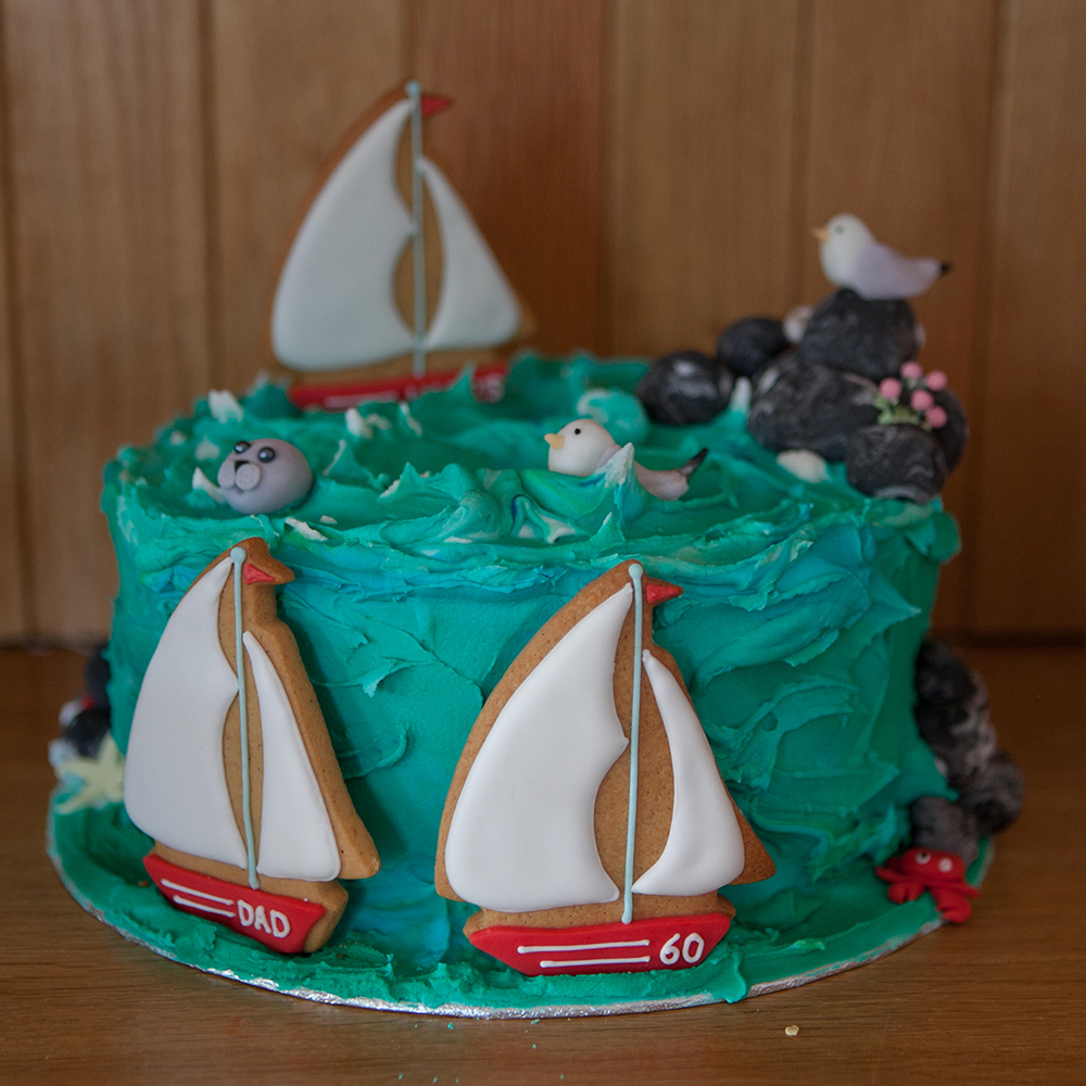 Sea themed birthday 60th birthday cake.
