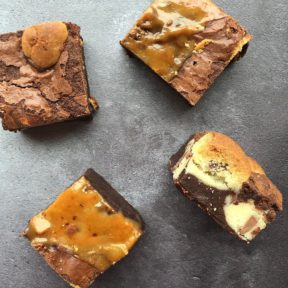 Two kinds of brownie; salted caramel and cookie dough.