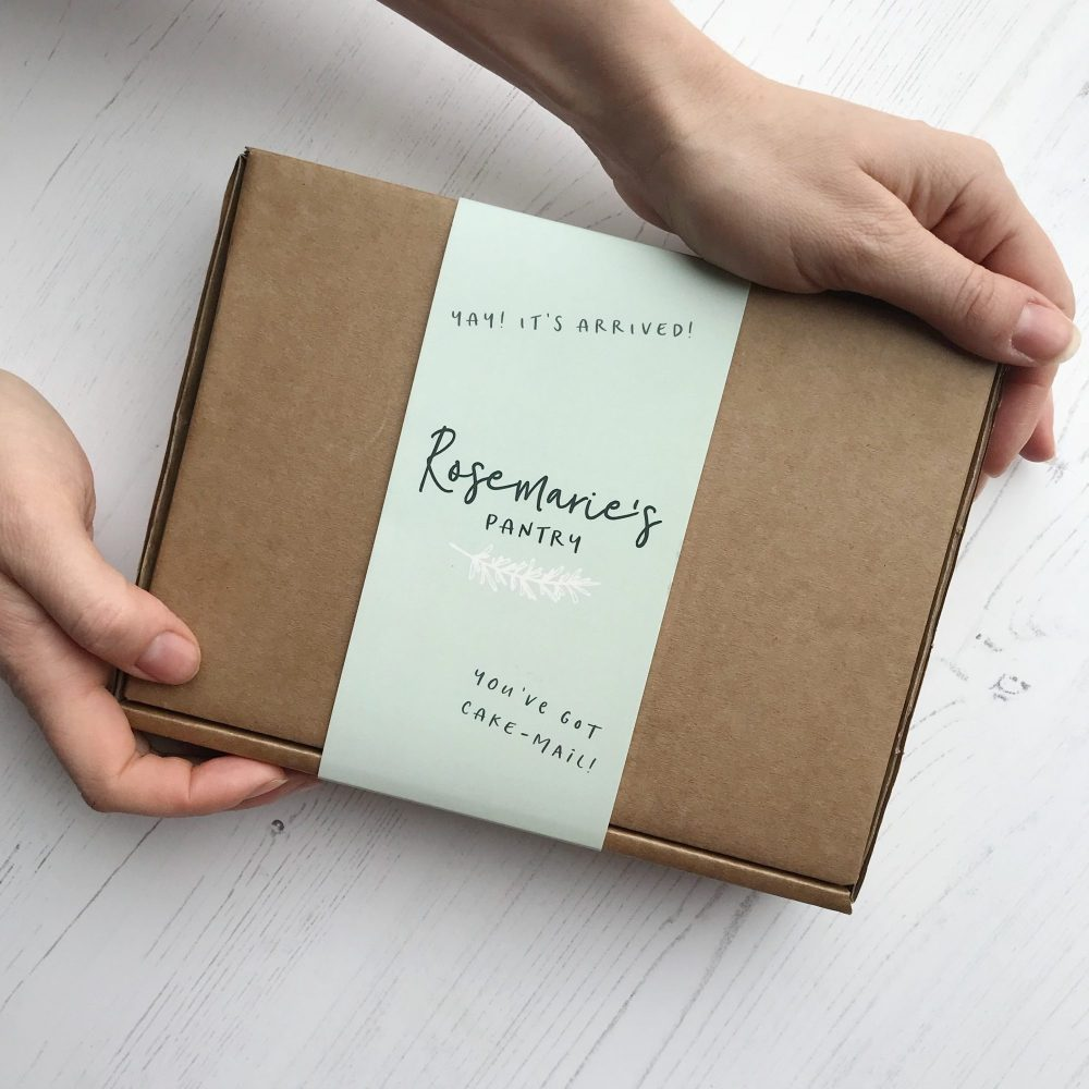 Rosemarie's Pantry packaging. A picture of the box with a belly band.