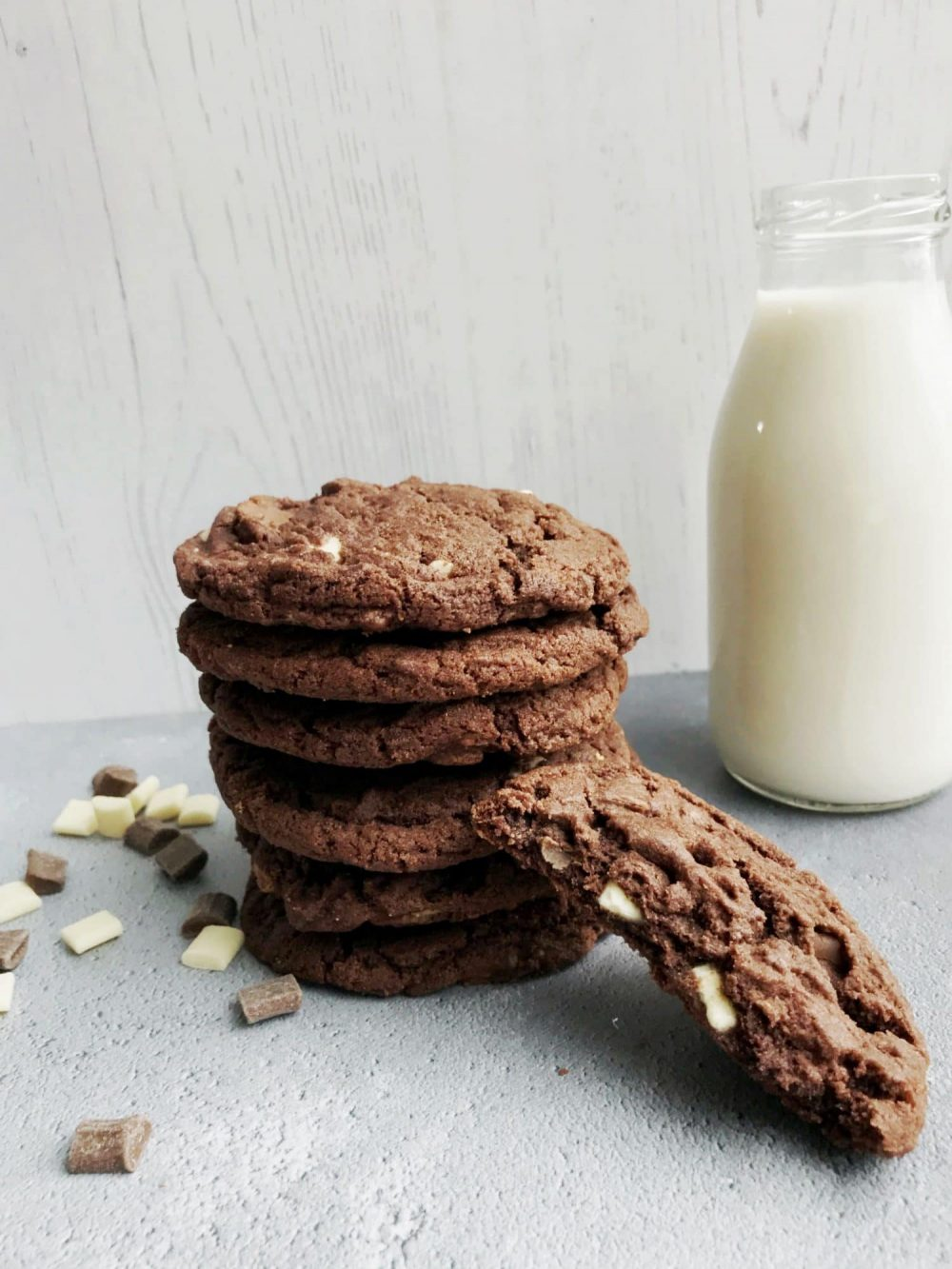 Chocolate Cookie Stack and milk